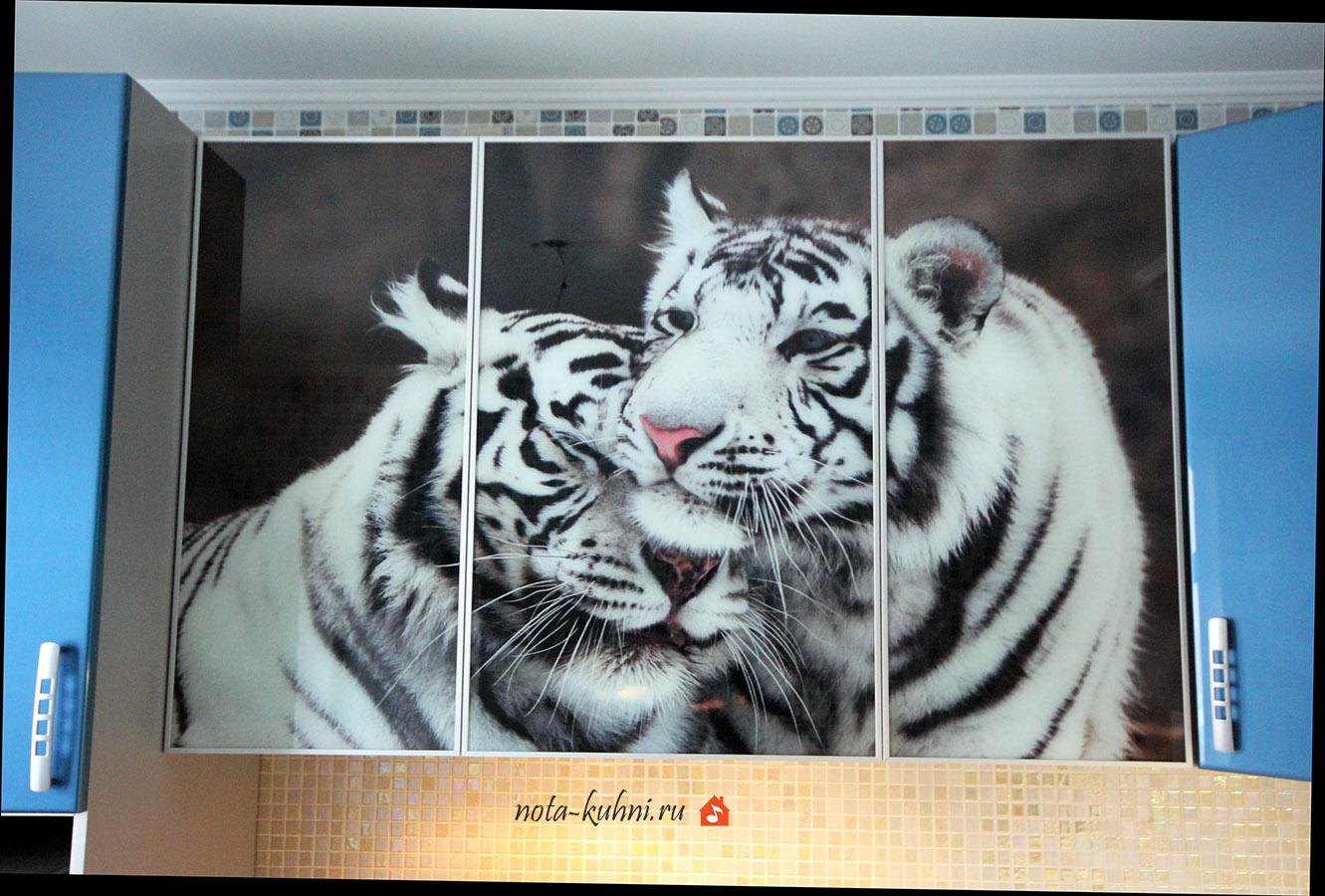 кухни с фотопечатью тигры на фасадах