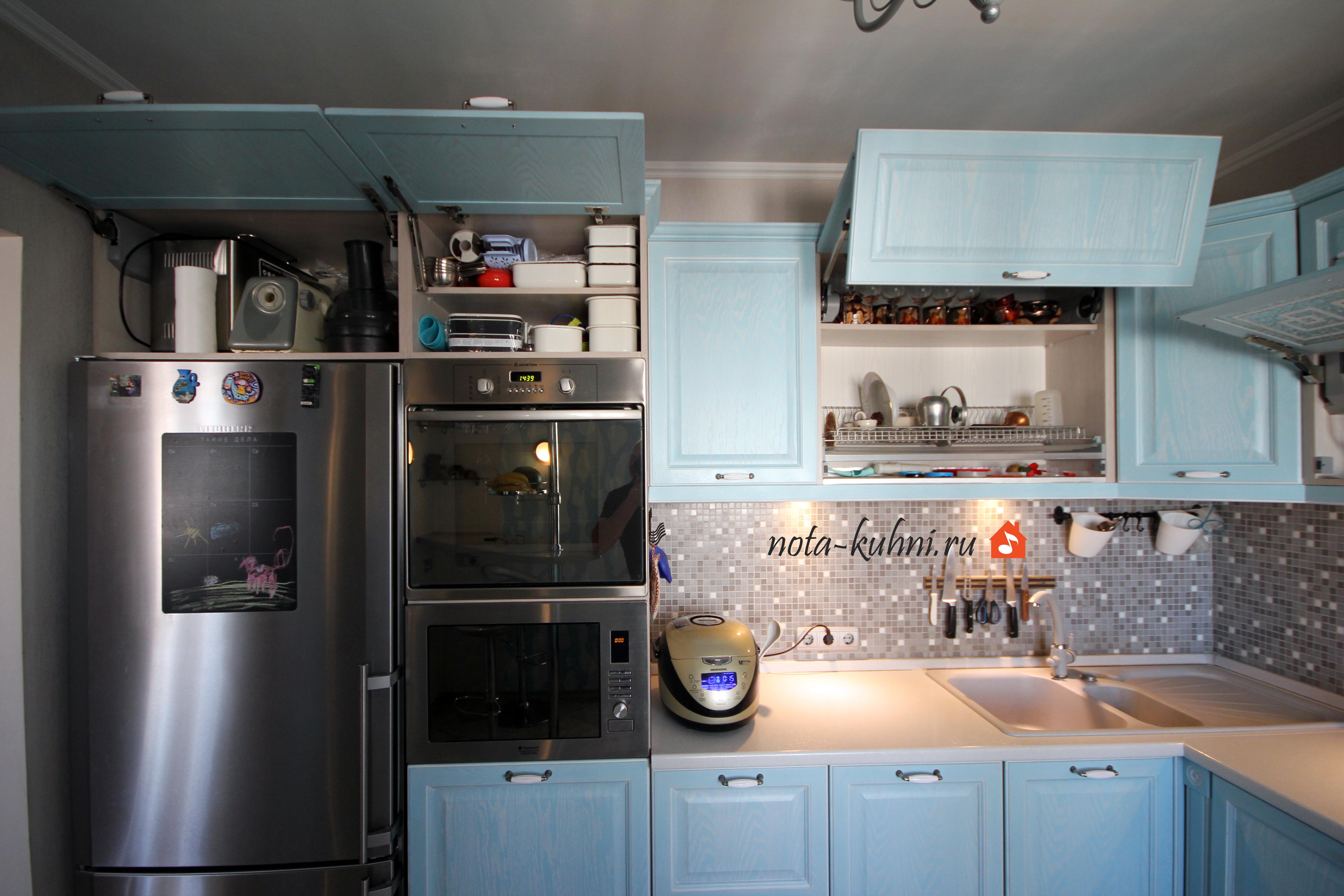 кухни прованс с механизмом aventos HK blum