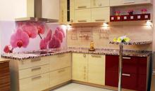 Кухня с фотопечатью на стеновой панели недорого